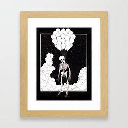 Skeleton Above the Clouds Framed Art Print