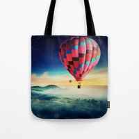 hot air balloons Tote Bags featuring Hot Air Balloons by EclipseLio