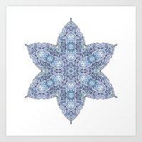 snowflake Art Prints featuring Snowflake by Awispa
