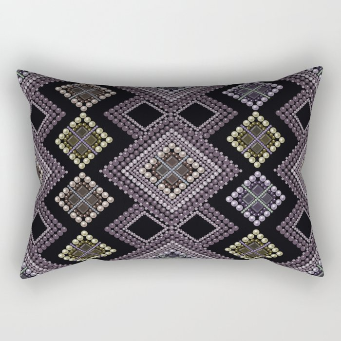 Folk beads circles ethnic pattern Rectangular Pillow