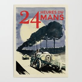 24 Heures du Mans, Hand Painted, vintage Poster Poster