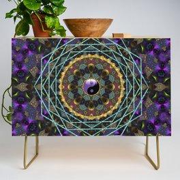 Purple Yin Yang Sacred Geometry Fractals Credenza