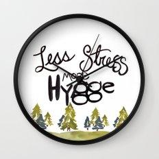 Less stress more Hygge Wall Clock