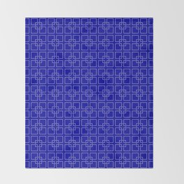 Rich Earth Blue Interlocking Square Pattern Throw Blanket