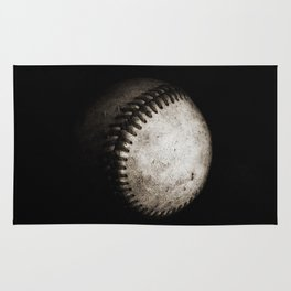 Battered Baseball in Black and White Rug