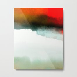 Red, Teal and White Abstract Metal Print