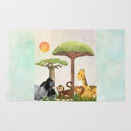 Watercolor Safari Animals Under Exotic Baobab Tree Rug
