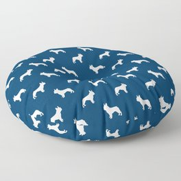 French Bulldog silhouette blue and white minimal dog pattern dog breeds Floor Pillow
