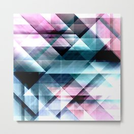 Pink Teal and Blue Abstract Geometric Pattern Metal Print