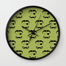Olde Timey Mustache and Eyepatch Man Wall Clock