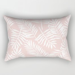 Tropical Palm Leaves - Pink & White Palm Leaf Pattern Rectangular Pillow