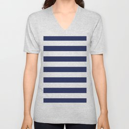 Navy Blue and White Stripes Unisex V-Neck