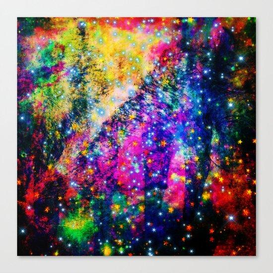 rainbow galaxy with stars Canvas Print
