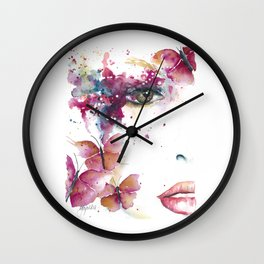 Girl with Purple Butterflies Wall Clock