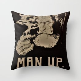 MAN UP B&W Throw Pillow
