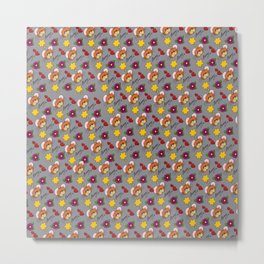 Hammy Pattern in Light Grey Metal Print