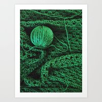 Green yarn Art Print
