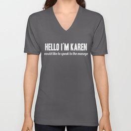 Womens Karen Funny Name print I Gift Meme Definition Unisex V-Neck