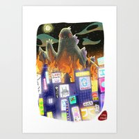 godzilla Art Prints featuring Godzilla by David Pavon