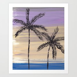 two palm trees euphoric sky Art Print