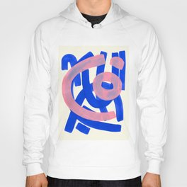 Tribal Pink Blue Fun Colorful Mid Century Modern Abstract Painting Shapes Pattern Hoody