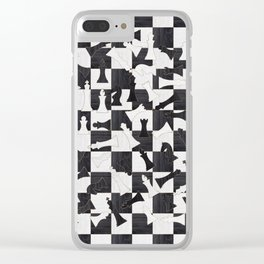Chess Figures Pattern - Wood black and white Clear iPhone Case