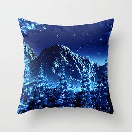 moonlight winter landscape Throw Pillow