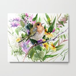 Robin and Summer Flowers Metal Print