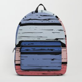 Contemporary blue and red tones rustic wood with black background Backpack