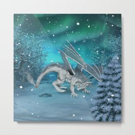 Awesome ice dragon in the winter landscape Metal Print