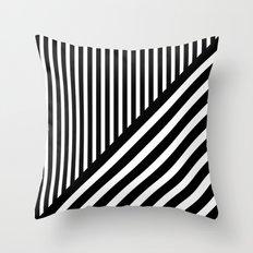 Black and White Diagonal Stripes Throw Pillow