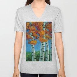 Poplars in autumn Unisex V-Neck
