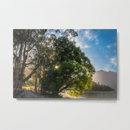 Sunstar behind some trees on the lake shore at Wilson Bay, New Zealand Metal Print