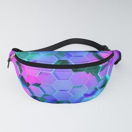 3D Pinkish Turquoise Hexagons Abstract Ultra HD Fanny Pack