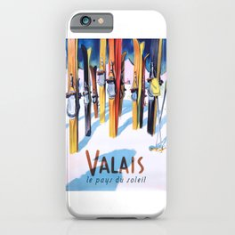1949 Switzerland Valais Ski Travel Poster iPhone Case