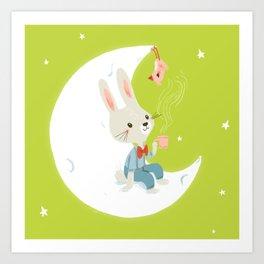 Little rabbit on the moon Art Print