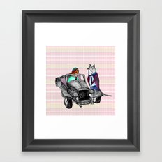 Animals and cars Framed Art Print