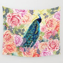 Pink bohemian roses floral vintage peacock quatrefoil Wall Tapestry