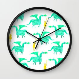 Correfoc dragon and devils * yellow & mint palette Wall Clock