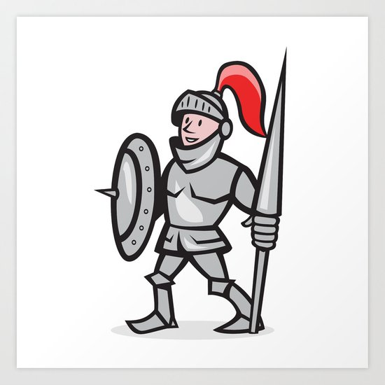 Knight Shield Holding Lance Cartoon Art Print