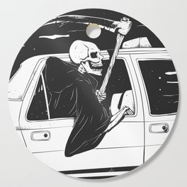 Passenger taxi grim - black and white - gothic reaper Cutting Board
