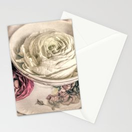Ranunculus Flowers Tea Cup Modern Cottage Modern Country Matted Picture USA A445 Stationery Cards