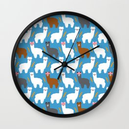 Pink Hair Alpacas I Wall Clock