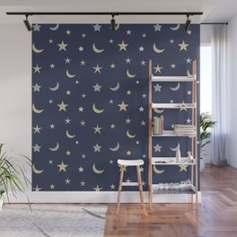 Gold and silver moon and star pattern on navy blue background Wall Mural