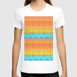Vintage Sunset Stamp Print Glow Pattern T-shirt