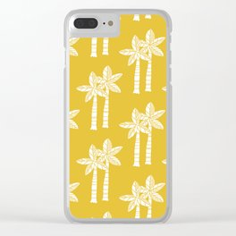 Palm Tree Pattern Mustard Yellow Clear iPhone Case
