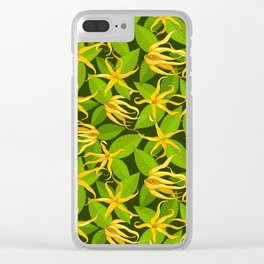 Ylang Ylang Exotic Scented Flowers and Leaves Pattern Clear iPhone Case