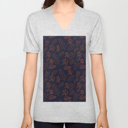 Rust leaves and branches on dark blue Unisex V-Neck