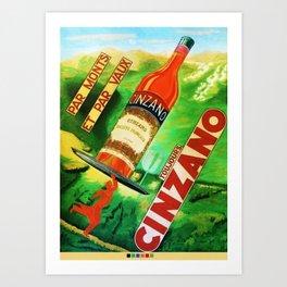 Rare 1930's Vintage Par Monts Toujours Cinzano Advertisement Poster Art Print