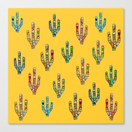 Mosaic Cacti on Yellow Canvas Print